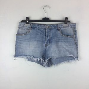 Band of Gypsies Rose Distressed Studded Jean Short